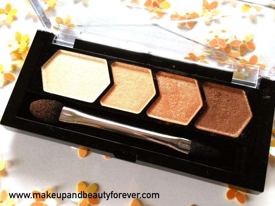 Maybelline Eyestudio Diamond Glow Eye Shadow Quad 01 Copper Brown Review Swatches Price Details
