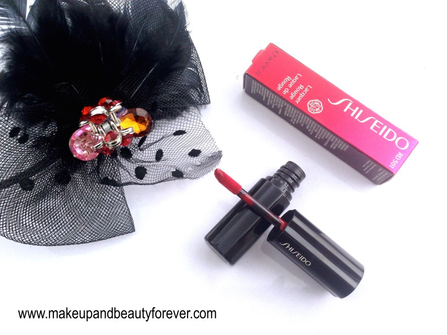 Shiseido Lacquer Rouge Liquid Lipstick Drama RD 501 Review Swatches Price FOTD