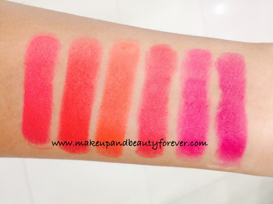 All Lakme Absolute Lip Pout Matte Lipstick Review Shades Swatches Raving Red Pink Fantasy Magenta Magic