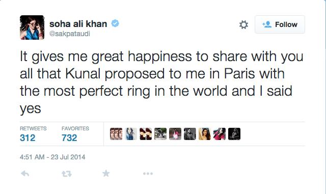 Soha Ali Khan engagement proposal tweet