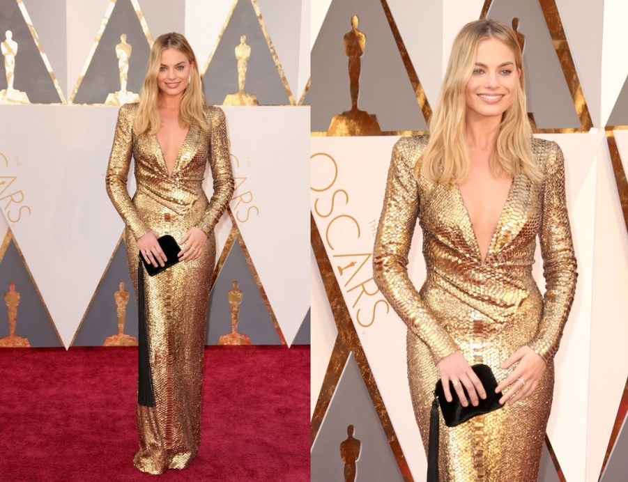 Margot Robbie Tom Ford Gold Snakeskin dress oscars 2016