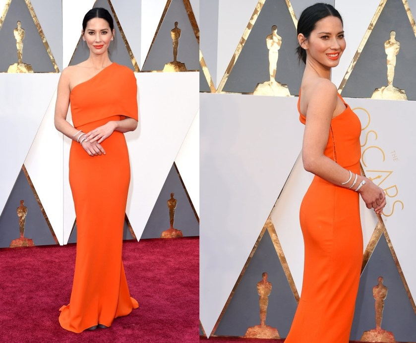Olivia Munn orange tangerine dress oscars 2016