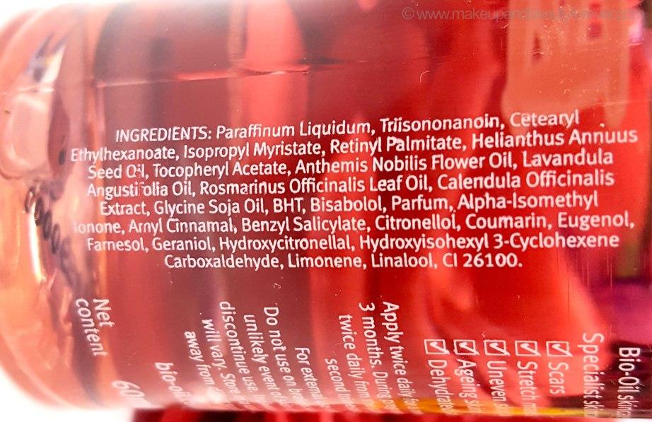 Bio oil ingredients list