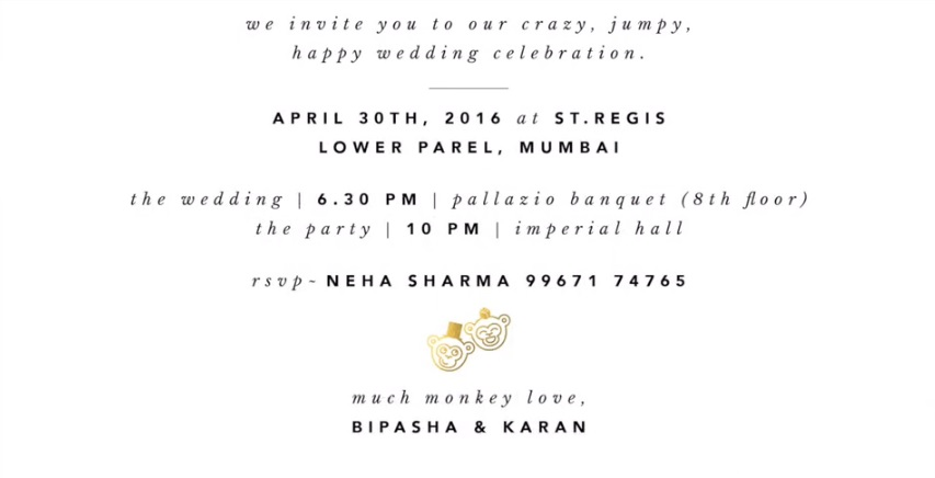 Bipasha Basu Karan Grover Wedding Invitation Card