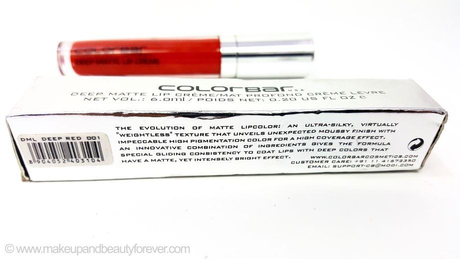 Colorbar Deep Matte Lip Crème Deep Red 001 Review India