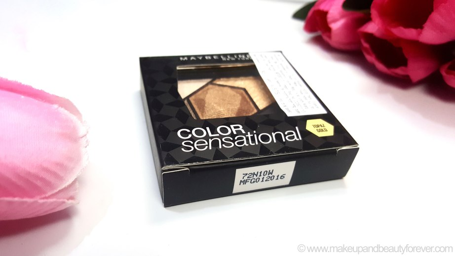 Maybelline Color Sensational Diamonds EyeShadow Palette Topaz Gold Review Swatches India