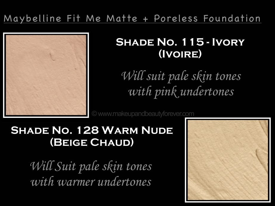 Maybelline Fit Me Ivory Warm Nude Matte Poreless Foundation Review Shades Swatches
