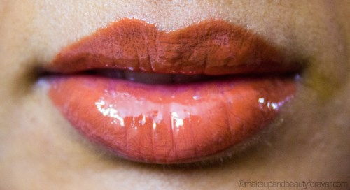 Colorbar Sheer Glass Lipgloss Brown Sheen Review on lips LOTD