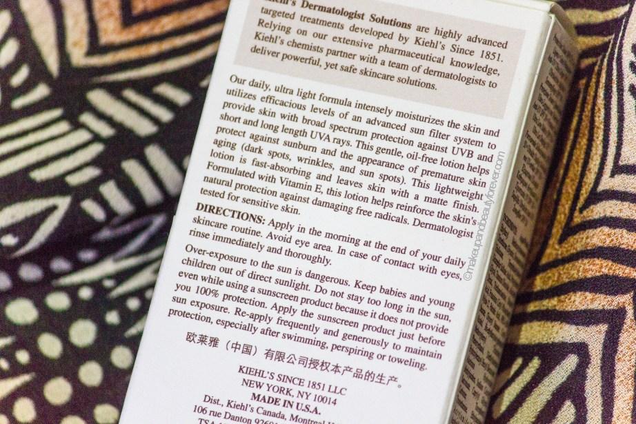 Kiehl's Ultra Light Daily UV Defense Sunscreen SPF 50 PA++ Review
