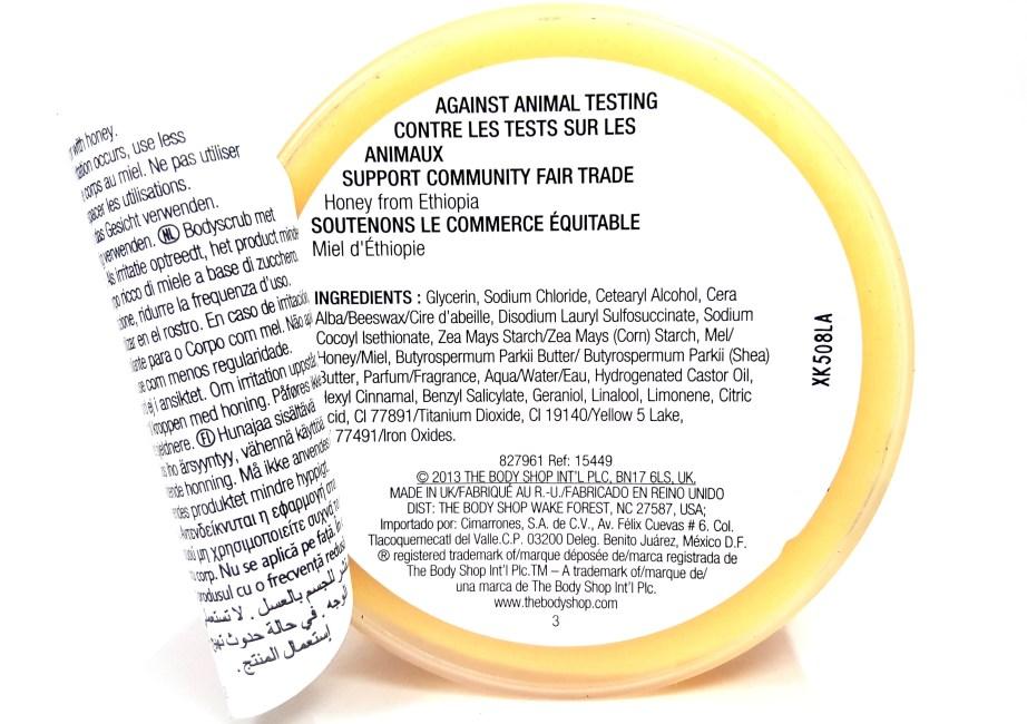 The Body Shop Honeymania Cream Body Scrub Review back