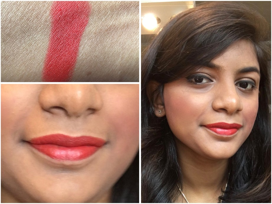 Lakme Absolute Sculpt Matte Lipstick Coral Flare Review Swatches on lips