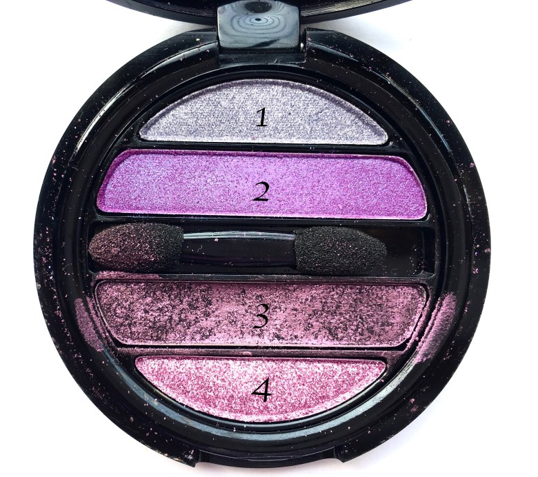 Faces I Shine Eye Shadow Quartet Purple Review Swatches HD focus