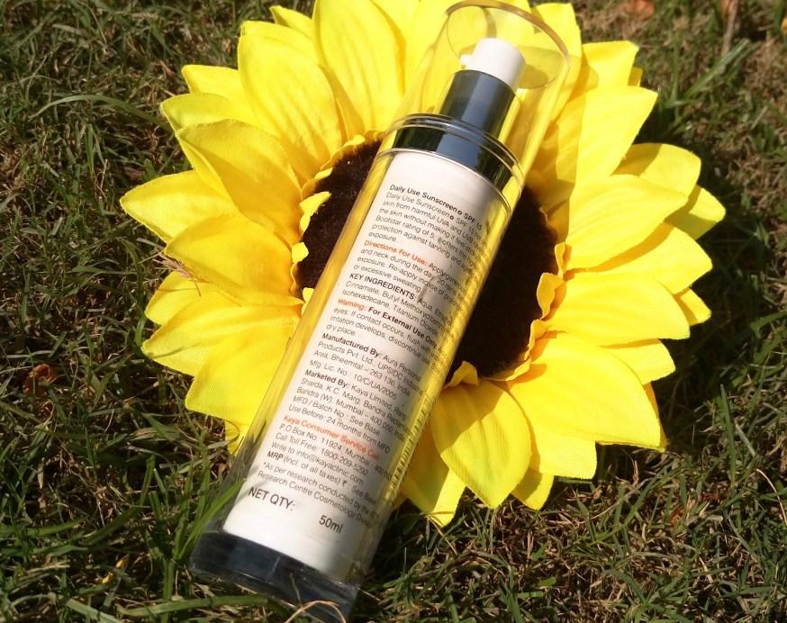 Kaya Skin Clinic Daily Use Sunscreen SPF 15 Review back