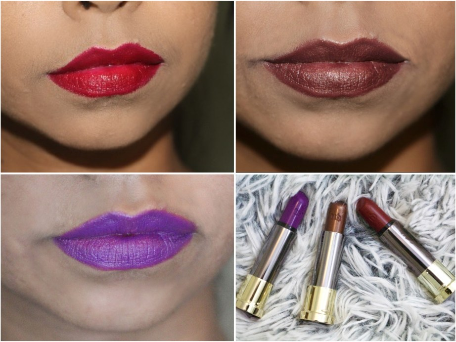 Urban Decay Vice Lipsticks Pandemonium Conspiracy Rock Steady Review Swatches on Lips MBF