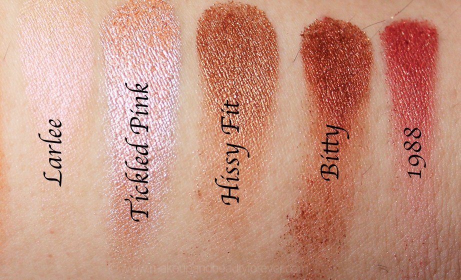 Violet Voss x Laura Lee Eye Shadow Palette Review Swatches Larlee Tickled Pink Hissy Fit Bitty 1988