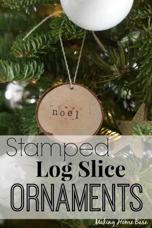 Stamped Log Slice Ornaments