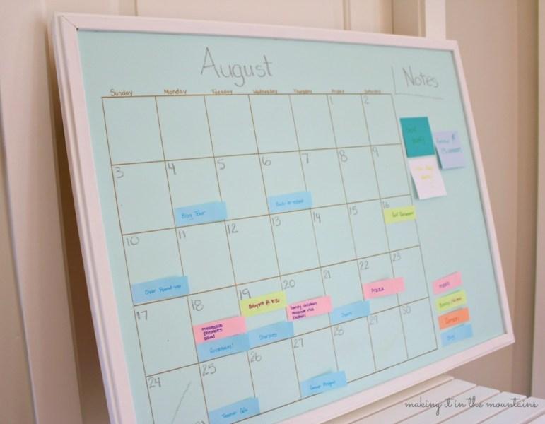 DIY Aqua Chalkboard Calendar with Sharpie