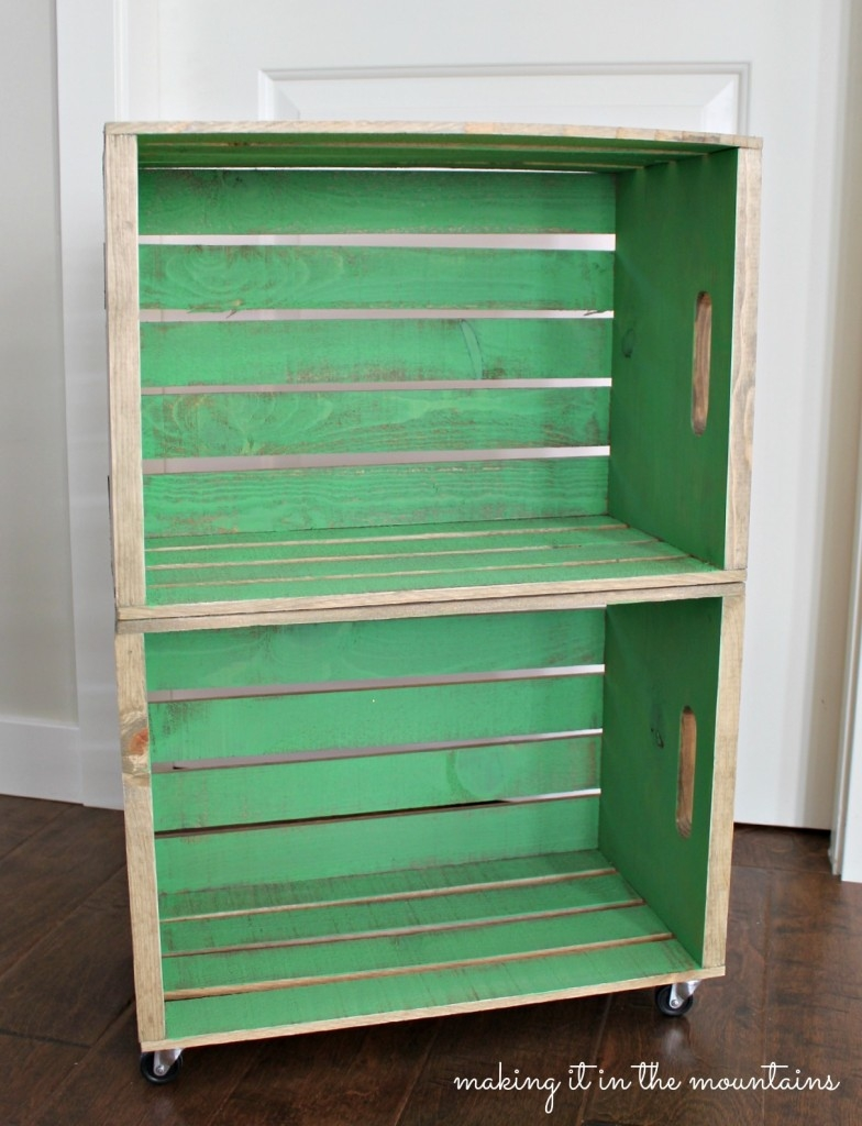 marvelous wood crate bedside table wheels