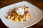 Red Potato and Andouille Sausage Hash Topped with Poached Eggs