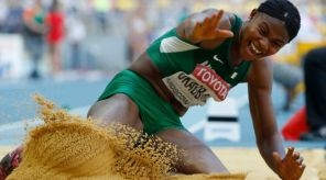 Okagbare won Silver in the women's Long Jump at the 2013 World Championships.