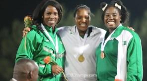 Nwanneka Okwelogu (C), Chinwe Okoro (L) and Chioma Onyekwere (R) made it a 1-2-3 for Nigeria in the women's Discus.