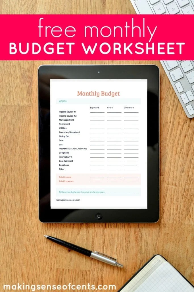 Free Monthly Budget Worksheet - Making Sense Of Cents