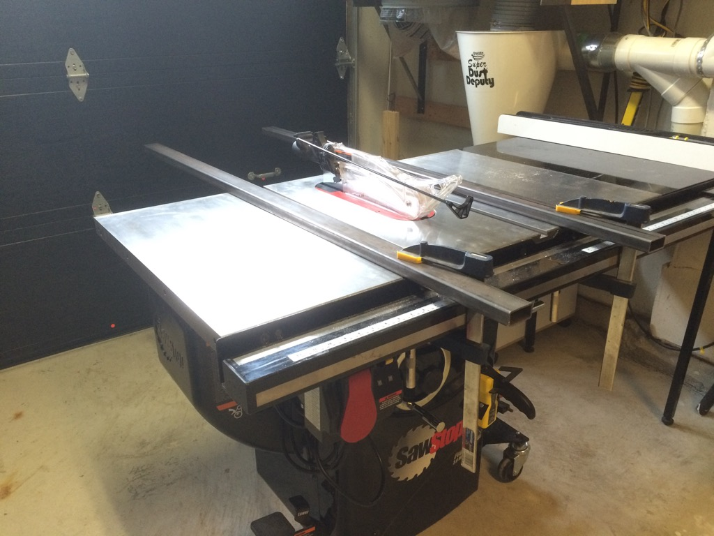 Folding Out Feed Table For My Sawstop Pcs Making Splinters