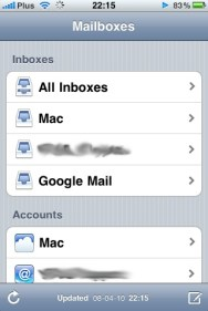 iPhone OS 4 mail