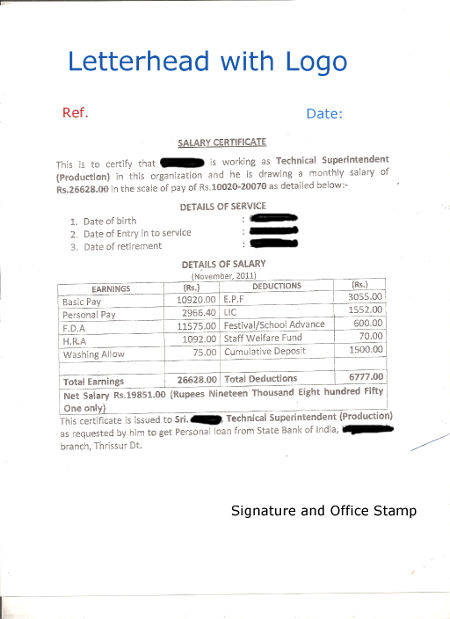 Format of Salary Certificate and Sample Salary Certificate For Bank - salary certificate template