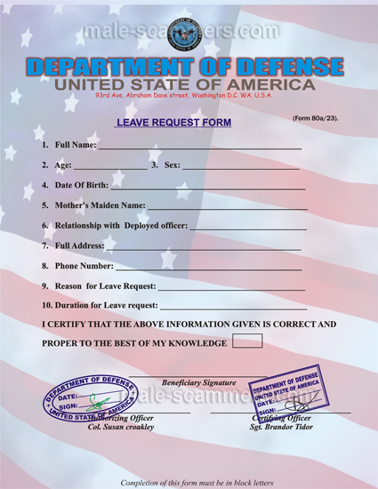 How Does Military Leave Scam Scenario Work Male-Scammers Blog - leave request form