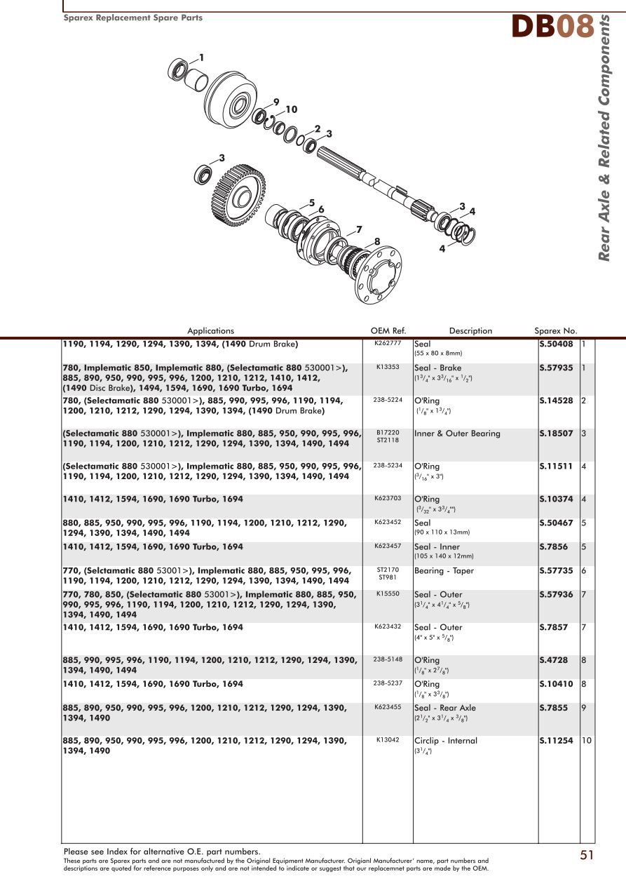 Ford 1210 Tractor Wiring Diagram David Brown Rear Axle Page 53 Sparex Parts Lists