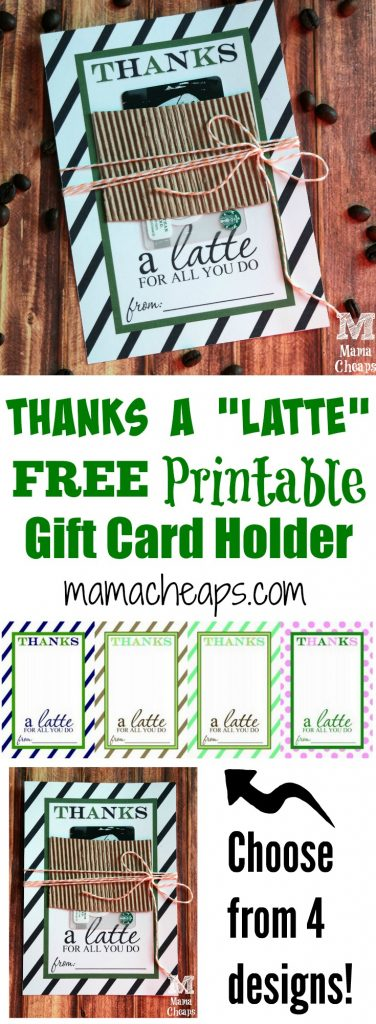 Teacher Appreciation Gift Idea - Thanks a Latte FREE Printable Card