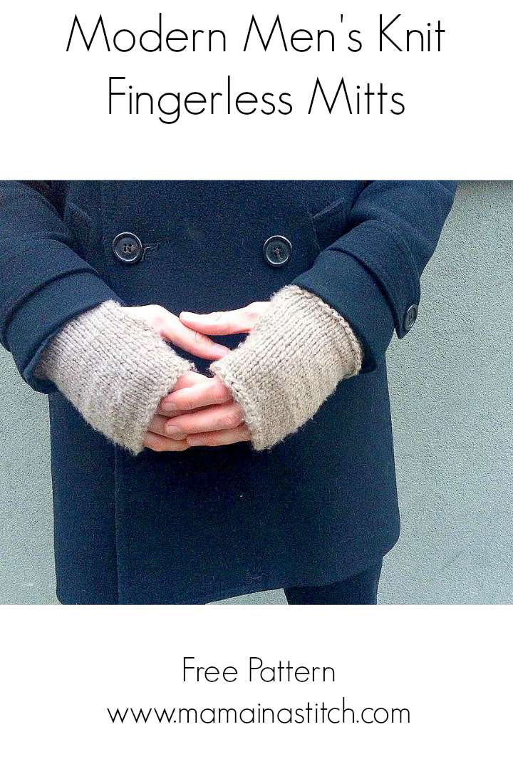 Men s Modern ?Tweed? Knit Fingerless Mitts Pattern