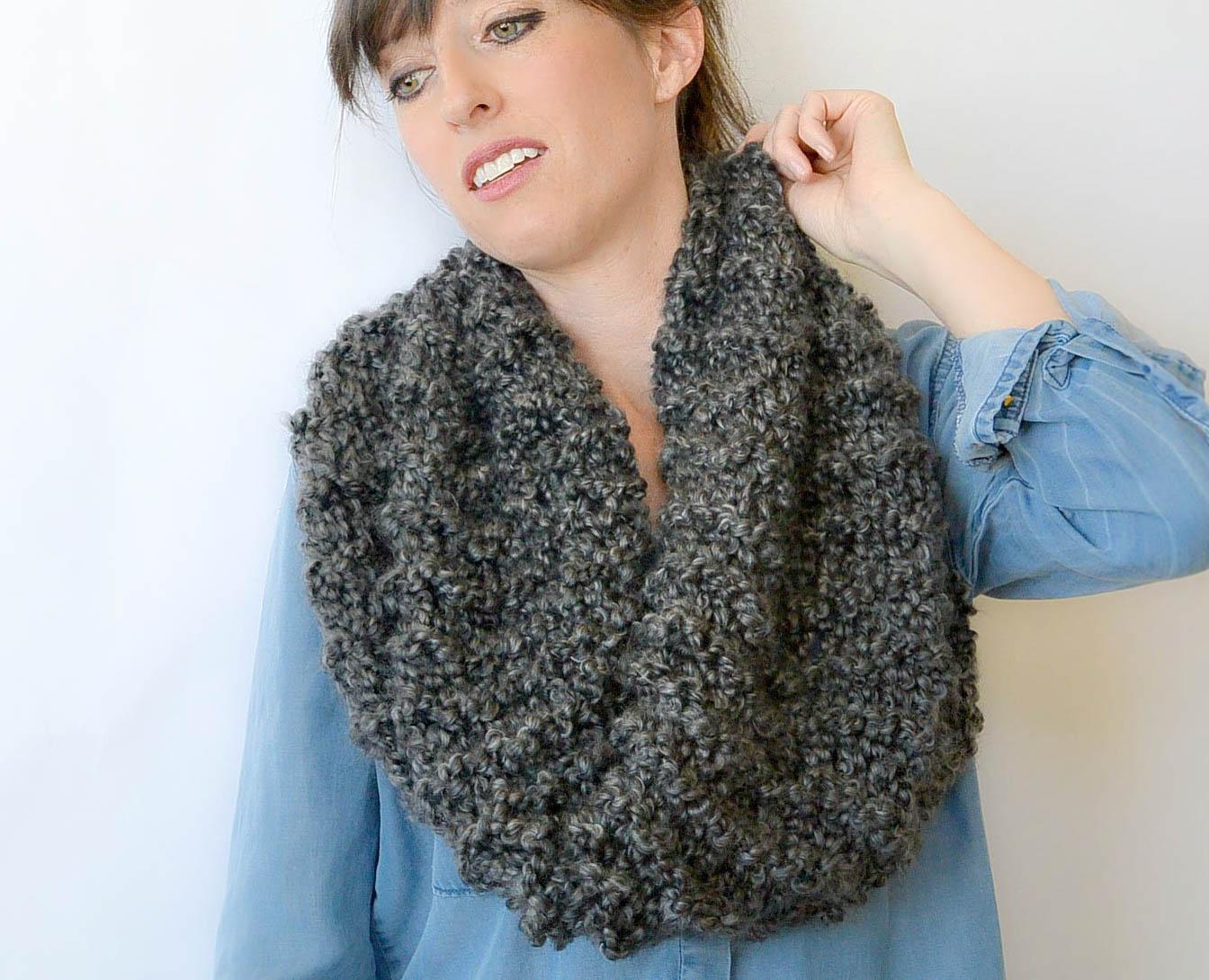 Knitting Cowl Patterns : Tall eiffel cowl beginner knitting pattern