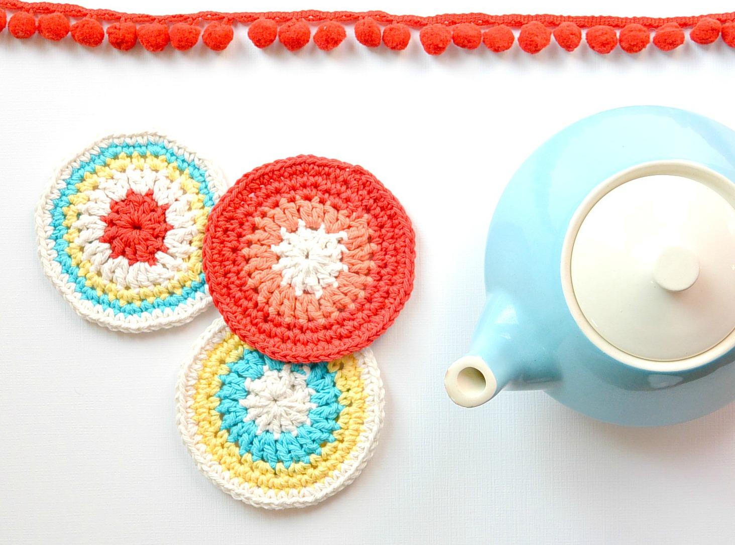 Colorful Little ?Vintage? Coasters ? Free Crochet Pattern