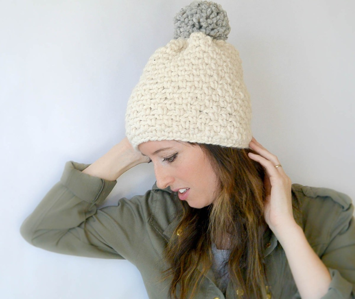 Free Knitting Pattern Hat Super Chunky : Ski Lodge Chunky Crochet Pom Hat Pattern