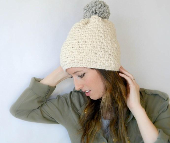 Crochet Patterns With Chunky Yarn : Ski Lodge Chunky Crochet Pom Hat Pattern