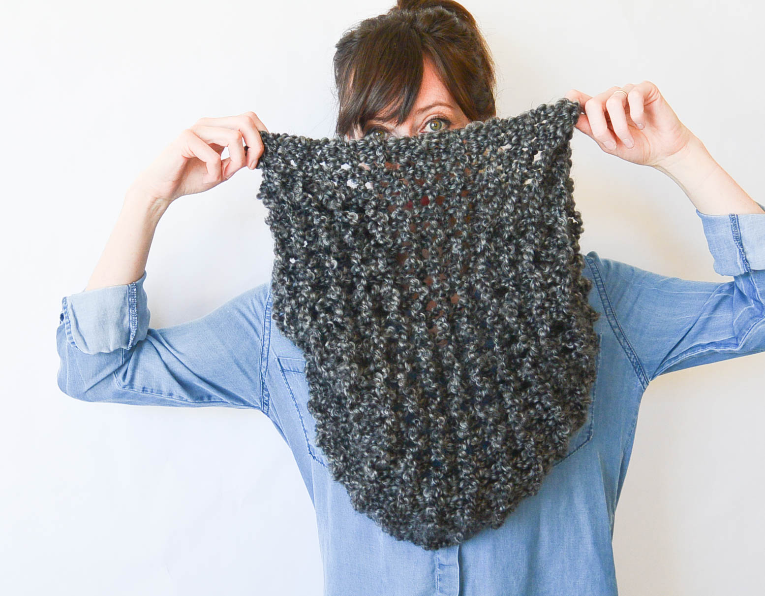 Knitting Pattern For Beginner : TALL Eiffel Cowl   Beginner Knitting Pattern