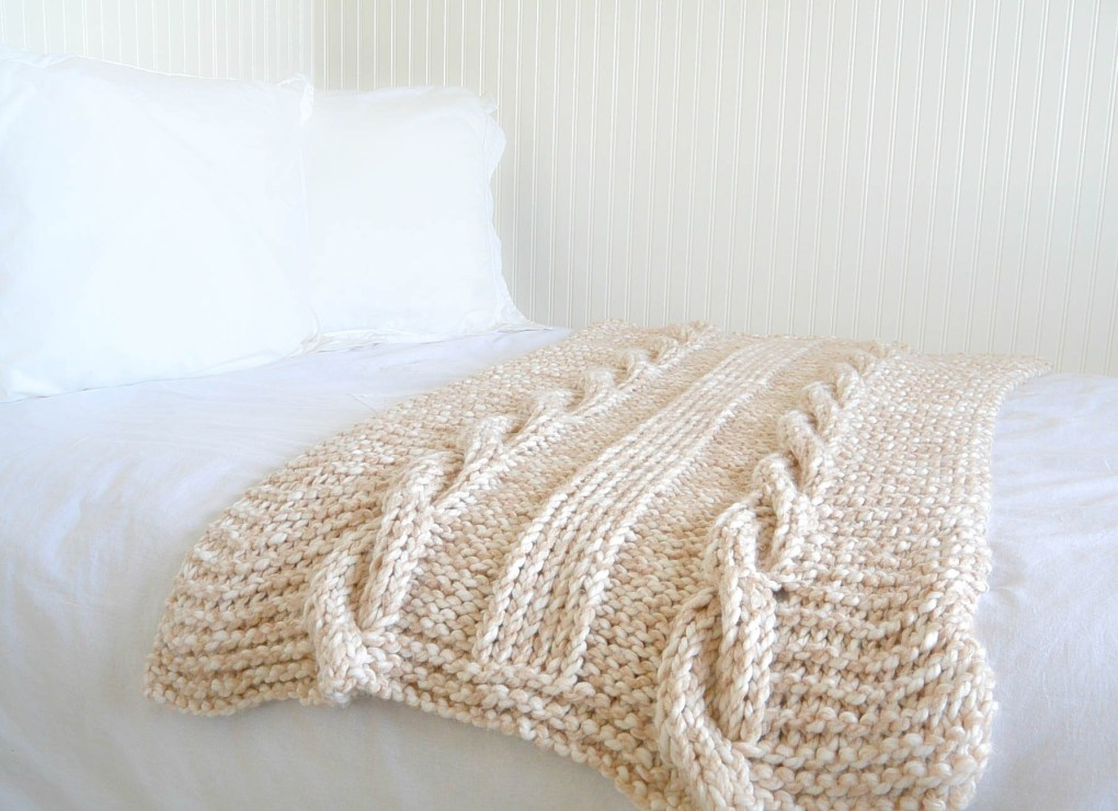 Knitting Pattern For Throw With Cables : Endless Cables Chunky Knit Throw Pattern