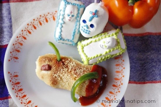 Monster Toe Pizza Bread Sticks with Bell Pepper Worms Recipe