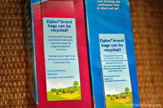Recycling info on Ziploc Bags's boxes