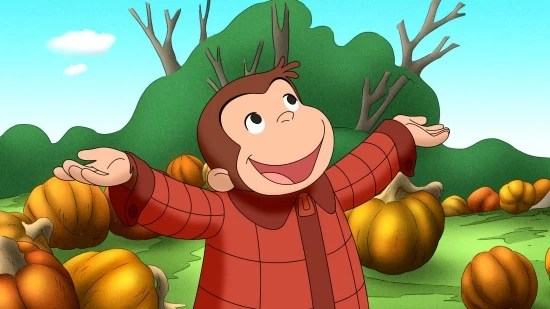Curious George and pumpkins