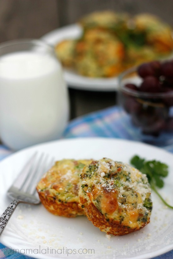 Ham, broccoli and parmessan mini frittatas