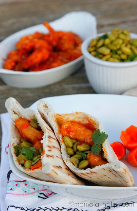 orange chicken and spicy edamame pita pockets by mamalatinatips.com