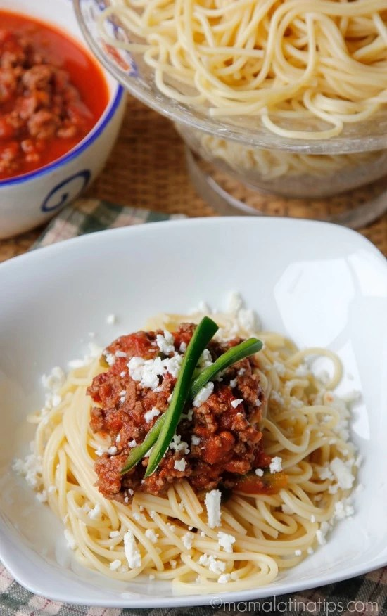 Chipotle spaghetti with beef and cotija cheese