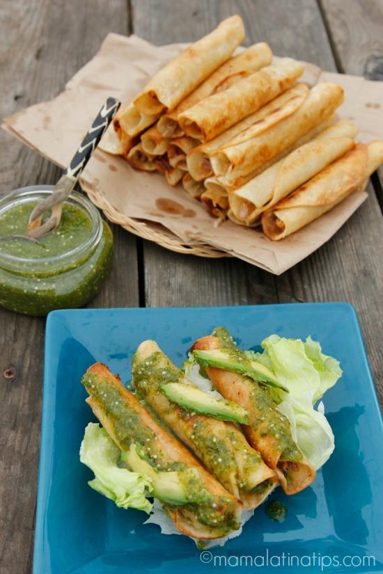Taquitos dorados with salsa verde and avocado - mamalatinatips.com