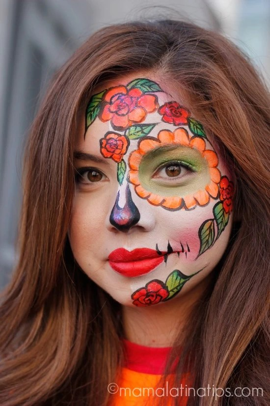 Catrina make up - orange-red flowers by mamalatinatips.com