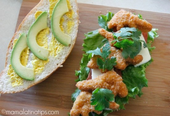 Chicken nugget torta with cilantro - mamalatinatips.com