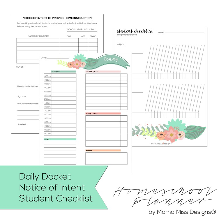 Homeschool Planner - homeschool schedule template