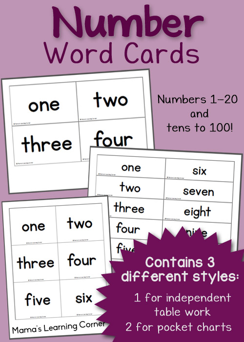 Free Printable Number Word Cards - Mamas Learning Corner